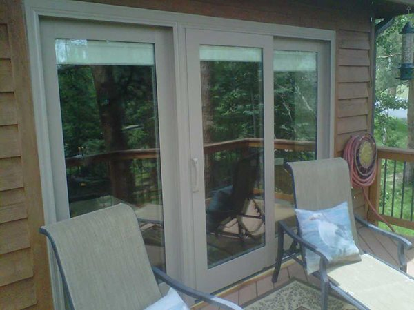 Sliding glass door on patio