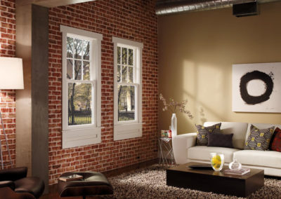 Pella Vinyl brick wall